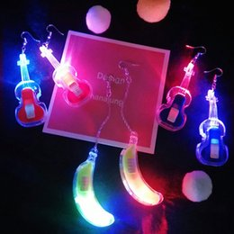 Discount red violin - Korean fashion temperament colorful luminous guitar  violin  Banana Earrings female personality ear jewelry earrings LZ1