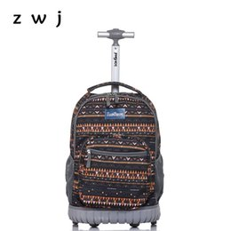 Wholesale Bohemian Lightweight Wheeled Trolley Backpack Straps Cabin Bag Travel Luggage Backpack with Wheels Rolling