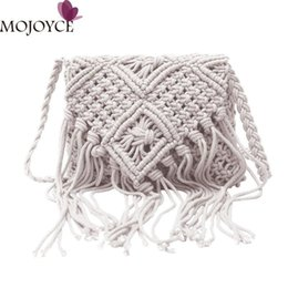 Knitting For Girls Bag Canada - 2018 Women Pure Handmade Cotton Rope Woven Shoulder Bag Female Stylish Tassel Handbag Hollow Shoulder Crossbody Bag for Girls D18102906
