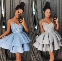 $enCountryForm.capitalKeyWord NZ - 2018 Lace Homecoming Dresses Tiers Skirt Short Mini Girls Party Gowns With Spaghetti Straps Puffy Satin Prom Party Formal Gowns