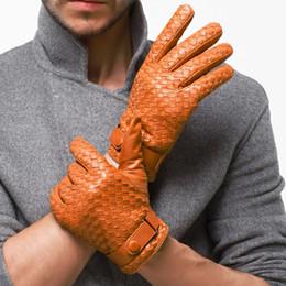 Men Gloves Leather Sheepskin Australia - Winter Men Leather Gloves Genuine Leather Gloves Fashion Sheepskin Glove Man Weave Plus Velvet Warm Driving Free Shipping
