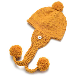 912af715832e2 Ginger Snap Hats Cotton Wool Hat Female Winter Warm Earmuffs Yarn Three  Hair Ball Knitted Hat Fit 18mm Snap Buttons NN-698