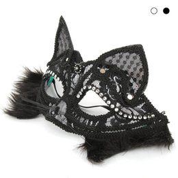 Chinese  Sexy Women Party Lace Mask Halloween Masquerade Dress Up Half Face Nightclub Bar Lace Cat Animal Masks Fashion Facewear #E manufacturers