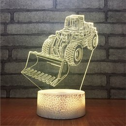 pattern batteries NZ - New Design DC 5V USB Powered AA Battery Bulldozer Pattern 3D LED Table Light Illusion Lamp