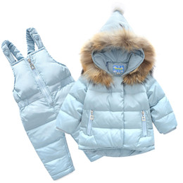 Discount overalls suit girls - 2018 New Boys Skid Brand Winter Children Clothing Set For Girls Jacket Coat Overalls Warm Down Snow Suit Baby Kids Cloth