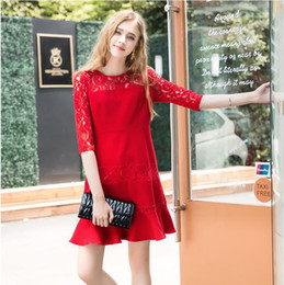 plus size dress code NZ - Lady large size 5XL red lace half sleeve sweet dress women plus big code fashion hollow out panelled solid color one piece dress