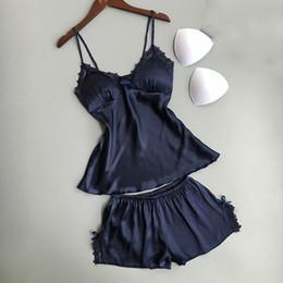 59df0694b5 Women silk tWo piece pajamas online shopping - Cotton Two Piece Set Women  Sleepwear Silk Pajamas