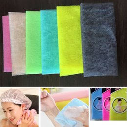 Exfoliating towEls online shopping - 30 cm Salux Nylon Japanese Exfoliating Beauty Skin Bath Shower Wash Cloth Towel Back Scrub Bath Brushes Multi Colors DHL SHip HH7 A
