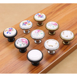 New 9Designs 3.2*3.7cm Floral Antique Shell Knob Home Decor Kids Hand  Painted Ceramic Door Pull Drawer Handle Furniture Bathroom Accessories