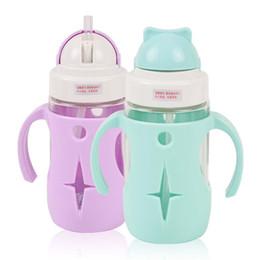 280 мл детские дети бутылка воды с соломой ребенок питьевой бутылочка для кормления стеклянная чашка стакан герметичность с ручкой и силиконовый чехол