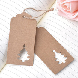 100pcs christmas tree pendant wish cards kraft paper tags gift lable xmas drop ornaments new year home diy decorations supplies d18110903