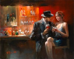 Bar Paintings NZ - Cigar Bar Woman and Men Hand Painted  HD Print Modern Hotel Decor Pop Wall Art Oil Painting On Canvas.Multi customized sizes Fp043