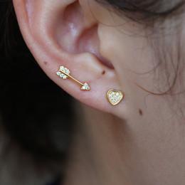 e8dff5a6af4 Hearts arrows earrings online shopping - Women Romantic Arrow Heart Stud  Earrings Cute Jewelry Simple Cyrstal