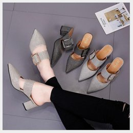 08ca9b36878a2 2018 spring and summer new high-heeled shoes European and American pointed  belt buckle thick with Baotou sandals shiny pu leather shoes