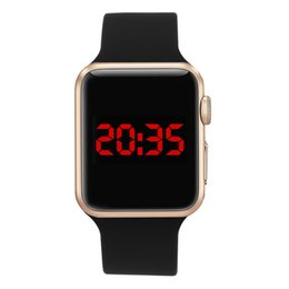 China Relojes Digital Wrist Watch Sport Clock Hours High Quality Square Mirror Face Silicone Band Digital Watch Black LED Watches cheap black face watches suppliers
