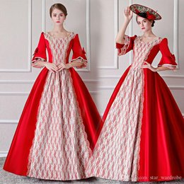 Discount bell costume women - Customized 17th Century Red European style Royal Party Period Dress Marie Antoinette Masquerade Ball Gowns Costumes For