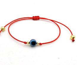 100 pcs Corda Vermelha Sorte Pulseira Azul Olho Do Mal encantos Ajustável Pulseira de Presente em Promoção