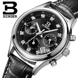 binger watch strap NZ - Switzerland Binger women's watches luxury quartz waterproofclock genuine leather strap Chronograph Wristwatches BG6019-W5 S917