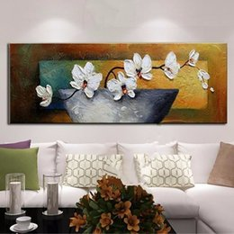 modern flower oil painting canvas Australia - Hand painted Knife Floral Paintings Modern Home Decoration Wall Art Picture Handmade White Flower Oil Painting on Canvas Large painting