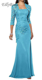 $enCountryForm.capitalKeyWord UK - Turquoise Lace Mother of the Bride Dresses with Jacket Appliques Three Quarter Long Sleeves Mermaid Evening Gowns for Women Wedding Party