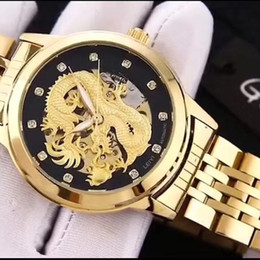 chinese watch alloy Australia - New men watch fashion Chinese dragon dial Gold Mechanical automatic Full Stainless Steel band male wristwatches for mens best gift 2019