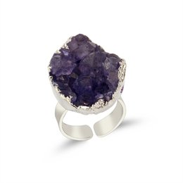 $enCountryForm.capitalKeyWord UK - 1PC Round Purple Natural Stone Druzy Ring Drusy Quartz Silver Color Open Mid Finger Rings For Womens Jewelry Fashion Gift DR24