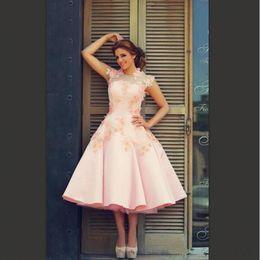 9dafcf90193 Blush Pink Short Wedding Dresses New Design A Line Satin Tulle Bridal Gowns  2018 Tea Length Modern Fashion Lace Petals Wedding Dresses