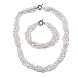 """$enCountryForm.capitalKeyWord UK - Hand knotted beautiful 5 rows natural 4-5mm Freshwater aquaculture rice pearl bracelet necklace 18"""" set fashion jewelry"""
