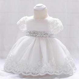 $enCountryForm.capitalKeyWord Australia - Baby girls party dress kids white lace embroidered short sleeve tutu dresses baby sequins bows princess dress girls birthday dress A01537