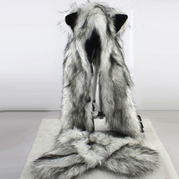 Animal Caps Faux Fur Australia - Women Fashion Wolf Ears Paws Faux Fur 3 in 1 women's Hat Scarf Mittens Winter Warm Cap Wolf Hat D18103006