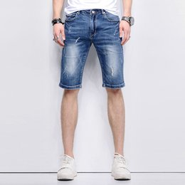 $enCountryForm.capitalKeyWord Canada - 2018 Summer New Fashion Vintage Denim Hole Ripped Holey Cowboys Tight Fit Thigh Shorts Mens Jeans Short Pants For Men
