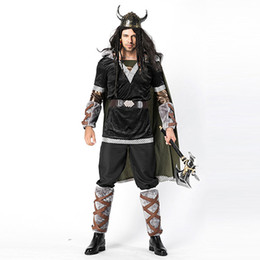 Chinese  Adult Men Halloween Viking Warrior Costumes Fancy Barbarian Medieval Cosplay Clothing Helmet Set For Men Cow Devil Costume manufacturers