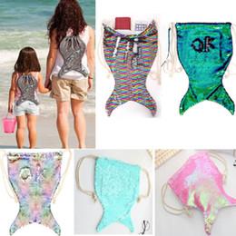 Discount sequin bag clothing - Mermaid Sequin Backpack Kids Women Drawstring Travel Shoulders Backpack Handbag Storage Bags School Bag Xmas Birthday Gi