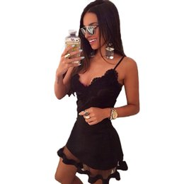 office club clothes 2019 - 2018 Summer Style Black Lace Dress V Cami Bodycon Sexy Cheap Clothes Vestidos De Festa Mujer Casual Office Midi Dresses