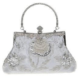 Discount blue beaded evening purses - HEBA Chic Women Antique Luxury Beaded Rose Evening Purse Clutch Handbag Classic Retro Party Ladies Soft Satin Bag