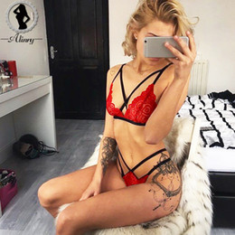 b639405f8e1df ALINRY 2018 New plus size sexy bra red black lace deep-V 3 4 cup push up  bralette+bandage briefs hollow out bras underwear sets