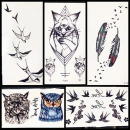 $enCountryForm.capitalKeyWord NZ - 3D Black Cat Temporary Tattoo Bracelet Under Breast Sternum Side Waterproof Fake Birds Feather Tattoo Sticker Women Kids