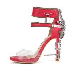 7260f477a37 Locking High Heels Shoes UK - 2018 Metal Lock Gladiator Sandals C Shoes  Rhinestone Women Sandals