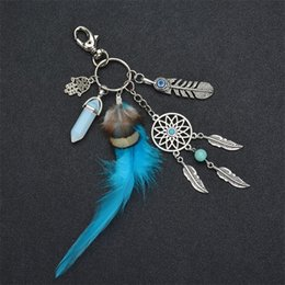 Wholesale natural leaf jeWelry online shopping - Natural Turquoise Keyring Lady Girls Woman Alloy Leaf Dream Catcher Key Buckle Jewelry Feather Keychain Fashion Accessories gf bb