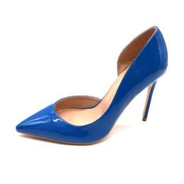 0e93fd5b83 Envío gratis mujeres dama 2018 azul royal D Orsay charol Pounded Toes  tacones de boda Stiletto High Heels zapatos bombas 120 mm 12 cm