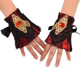 $enCountryForm.capitalKeyWord UK - 1 pair Women Vintage Wristband Wrist Cuff Vintage Victorian Cosplay Accessory Red Black Blue Fast Shipment