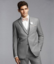 $enCountryForm.capitalKeyWord Canada - Mens Tuxedo Suits Groom Tuxedos Best Man Suit Wedding Bridegroom Suits Slim Fit Light Grey Side Vent (Jacket+Pants+Tie+Vest)