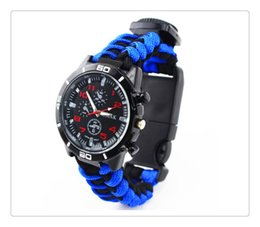 Discount rescue bracelet buckle - Outdoor Survival Watchband Sport Colors Self-rescue Cord Rope Buckle Bracelets Bangles Outdoor Survival Gadgets