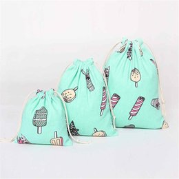 $enCountryForm.capitalKeyWord NZ - 1pc Cotton&Linen Drawstring Storage Bags Ice Cream Pattern Travel Shoes Laundry Underwear Makeup Tops Bag Pouch S M