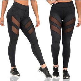 Women S Yoga Pants Wholesale NZ - 2017 Sexy Mesh Patchwork Sports Leggings Women Fitness Clothing Black Gym Trousers Sportswear Yoga Pants Running Tights