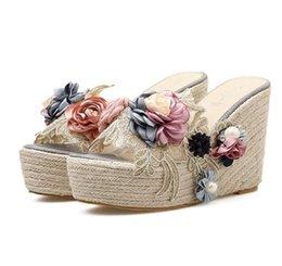 $enCountryForm.capitalKeyWord Canada - Mori girl flower straw woven summer sandals women high heels platform wedge slipper 2018 size 34 to 40