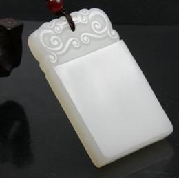 Ingrosso Ciondoli sicuri in giada bianca naturale Xinjiang da trasporto Ciondoli autentici in medaglia di bambù bianco afghano