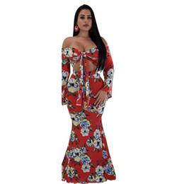 b446de4437e Women Two Piece Sets Boho Crop Top and Skirt Set Long Print 2 Piece Outfits  Off Shoulder 2 Pcs Set