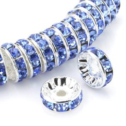 $enCountryForm.capitalKeyWord NZ - 100 Pcs Rhinestone Rondelle Spacer Beads Round Metal Silver Tone Light Sapphire Czech Crystal Charm Loose Beads for Jewelry Making