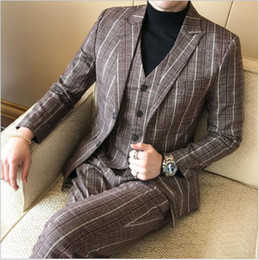 $enCountryForm.capitalKeyWord Australia - Latest Large Size Men's Business Suits Three-pieces (Blazer+Pant+Vest) Suits Slim Fitted Coffee Color Tuxedos Wedding Attire For Sale